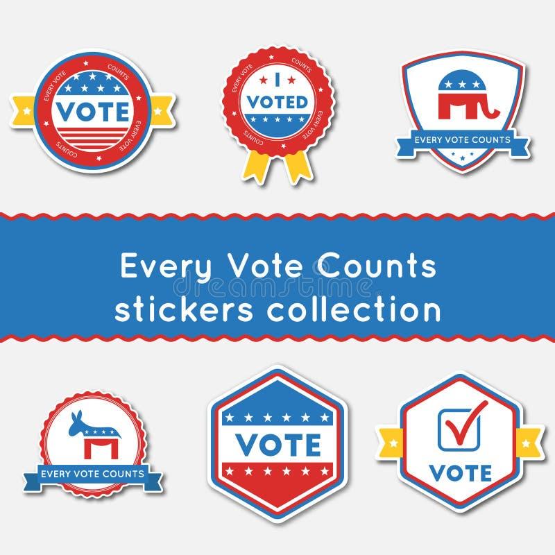 Varje rösta räkningsklistermärkeuppsättningen stock illustrationer