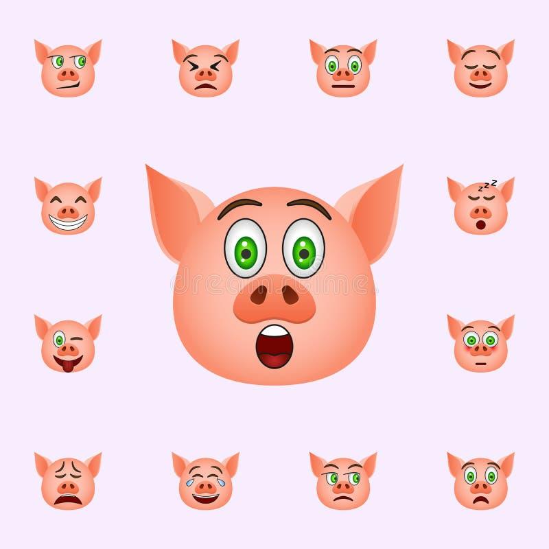 Varken in betrokken over emojipictogram E vector illustratie