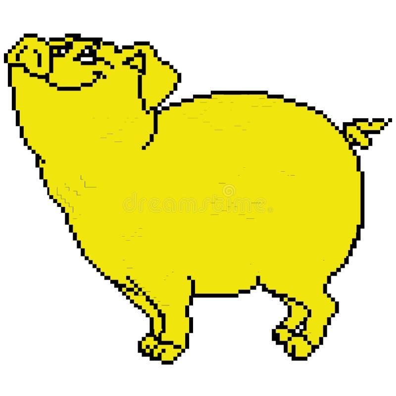 Varkens gele aardachtig geschilderd in vierkanten, pixel Vector illustratie stock illustratie