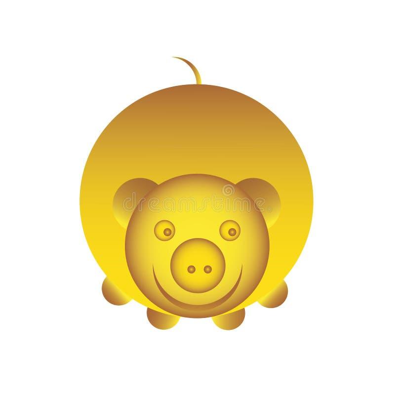 Varkens gele aardachtig, pictogram, embleem voor decoratie Vector illustratie stock illustratie