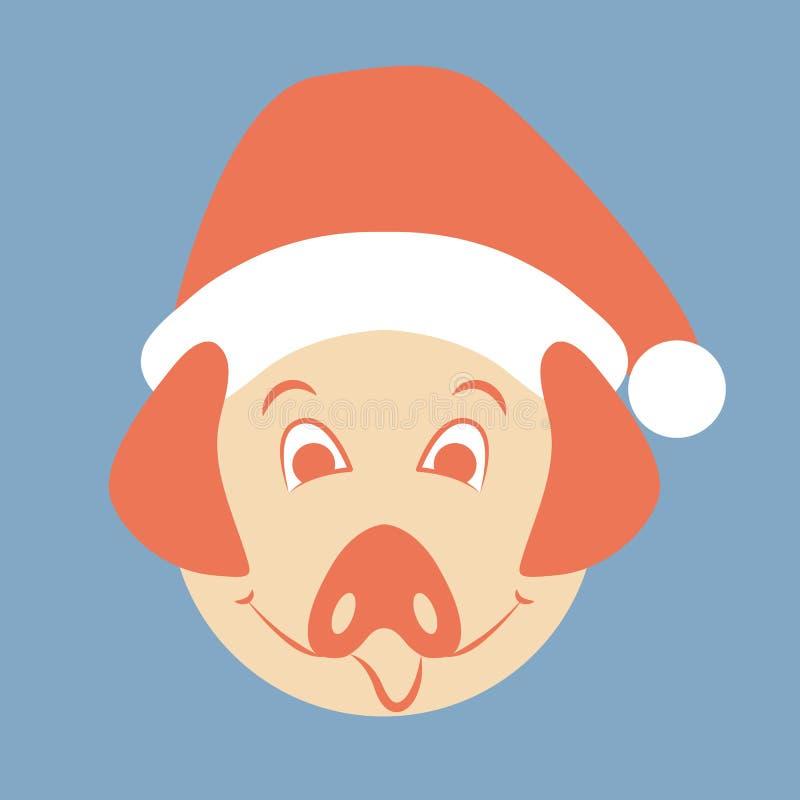 Varkens hoofdgezicht in Kerstmanhoed vector illustratie