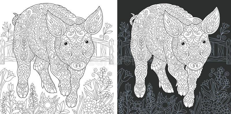 Varkens kleurende pagina stock illustratie