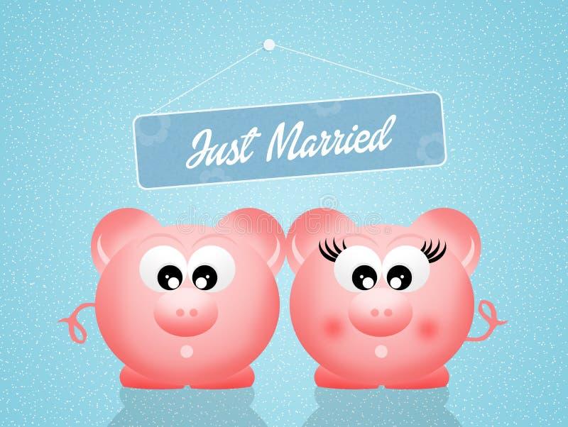 Varkens in liefde vector illustratie
