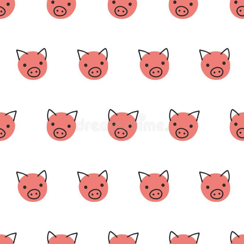 Varkens naadloze vectorachtergrond Het leuke stipvarken ziet het roze van het patroonkoraal op wit onder ogen Het geometrische on royalty-vrije illustratie