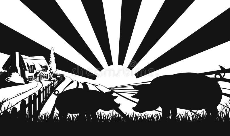 Varkens in silhouet op landbouwbedrijfgebied stock illustratie