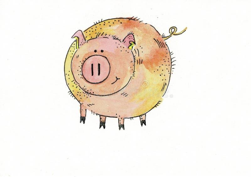 Varkens wild dier in een ge?soleerde waterverfstijl Volledige naam van het dier: piggy Aquarelle wild dier voor achtergrond stock illustratie