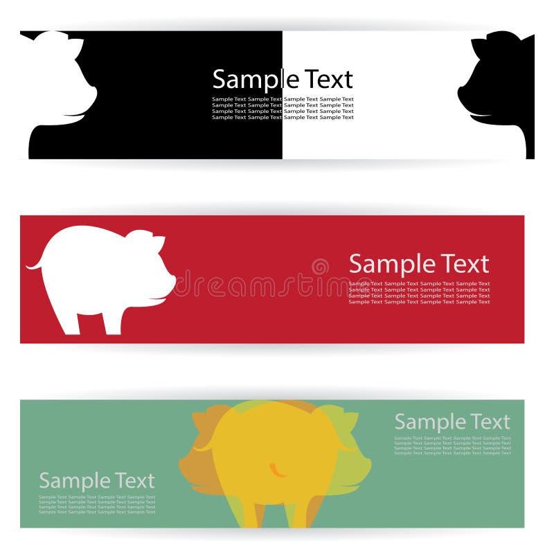 Varkensbanners vector illustratie