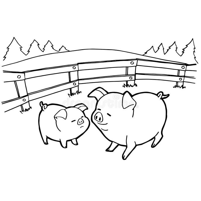 Varkensbeeldverhaal het kleuren pagina'svector royalty-vrije illustratie