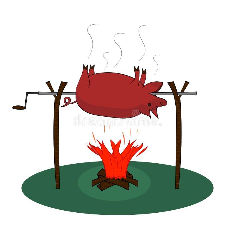 Varkensbraadstuk over een brand stock afbeeldingen