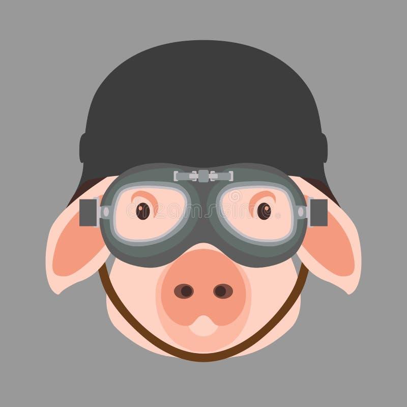 Varkensgezicht in vlakke de stijlvoorzijde van de helm vectorillustratie vector illustratie