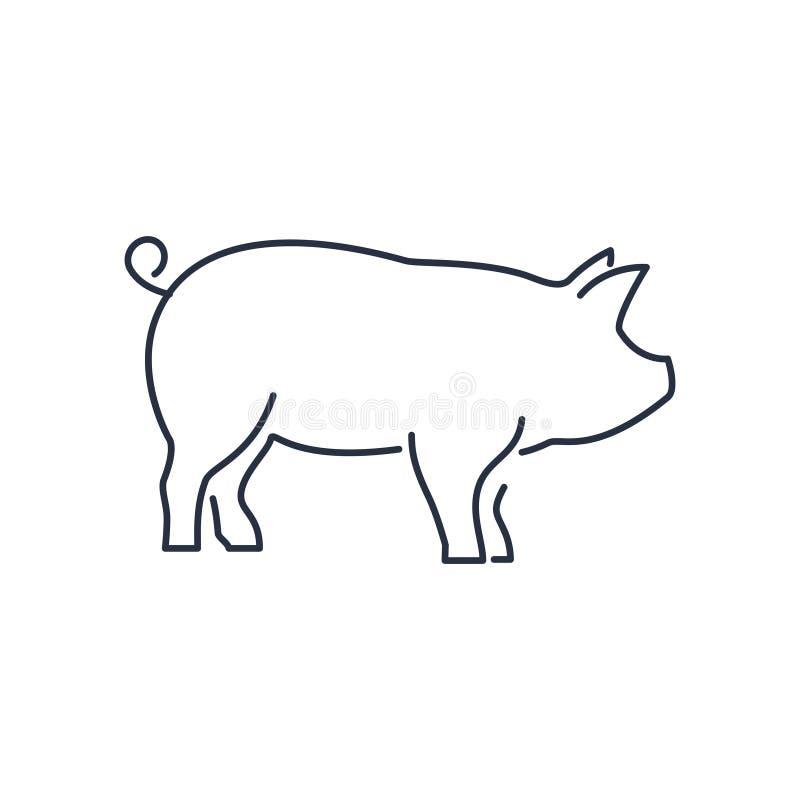 Varkenspictogram, piggy silhouet lineair die teken op witte achtergrond wordt geïsoleerd - editable vectorillustratie eps10 stock illustratie