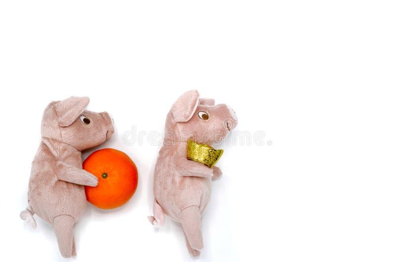 Varkenspop met gouden baar en sinaasappel royalty-vrije stock fotografie