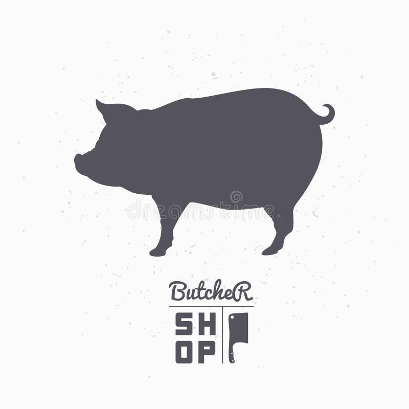 Varkenssilhouet Het vlees van het varkensvlees Het malplaatje van het slagerijembleem stock illustratie
