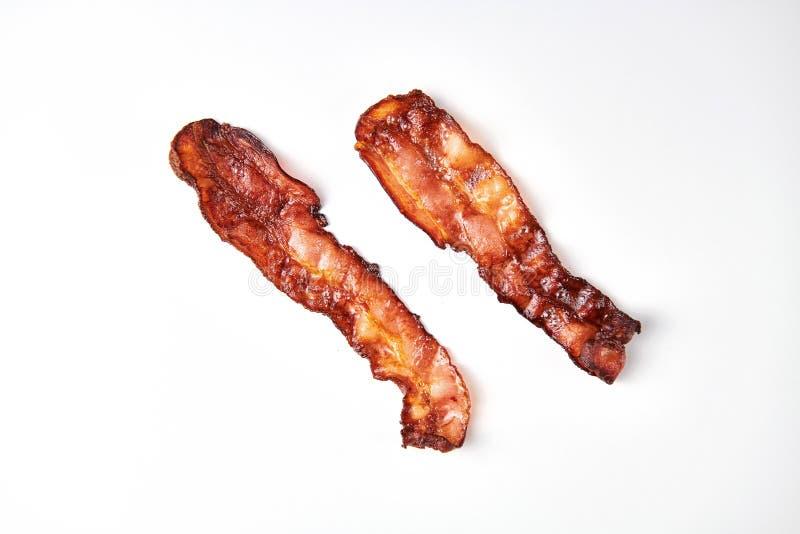 varkensvlees Bacon voor gebraden eieren Baconplak voor pizza stock foto's