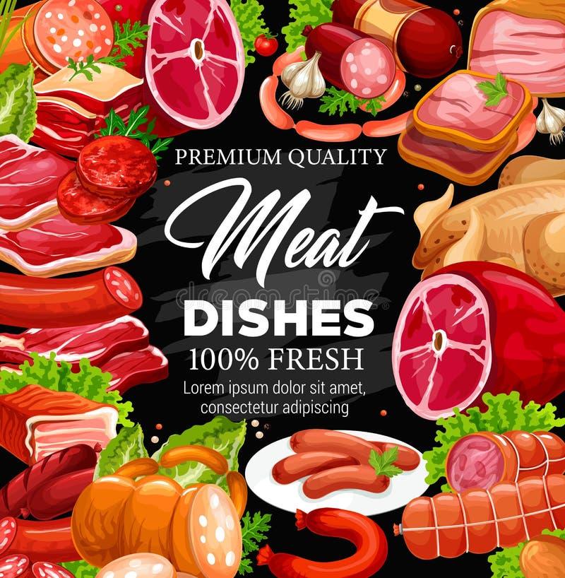 Varkensvlees, rundvleesvlees en worstenkader, slachterijwinkel royalty-vrije illustratie