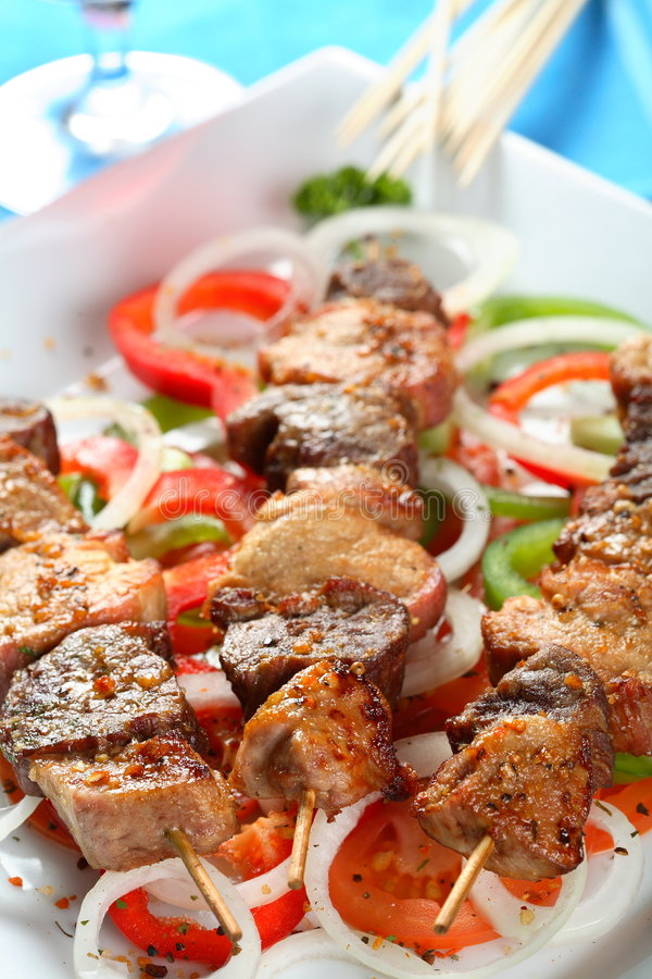 Varkensvlees shashlik royalty-vrije stock afbeeldingen