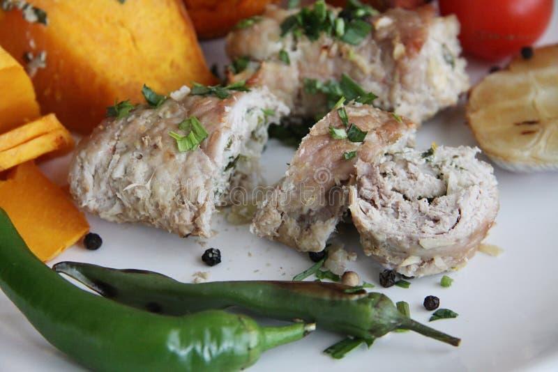 Varkensvleesbroodjes met pompoen stock afbeeldingen