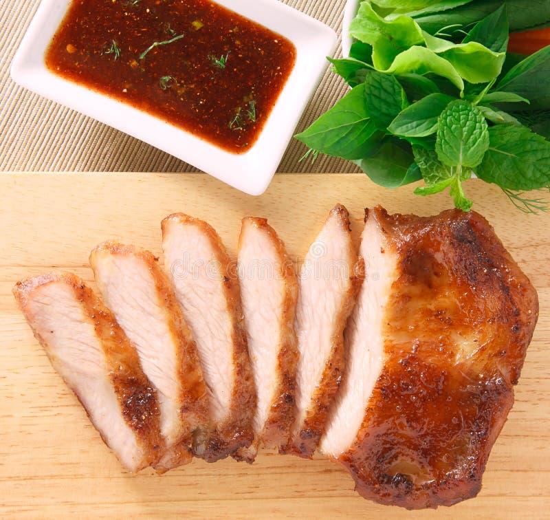 Varkensvleeshals geroosterd lapje vlees stock afbeelding