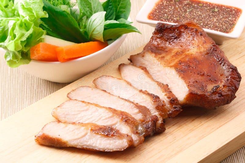 Varkensvleeshals geroosterd lapje vlees stock foto