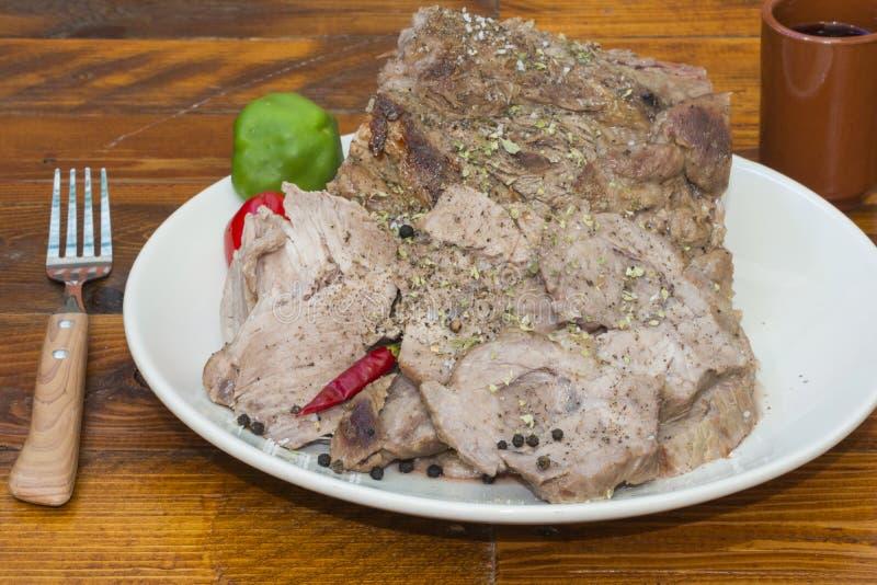 Varkensvleeslendestuk stock foto's