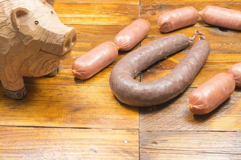 Varkensvleesworst stock foto's