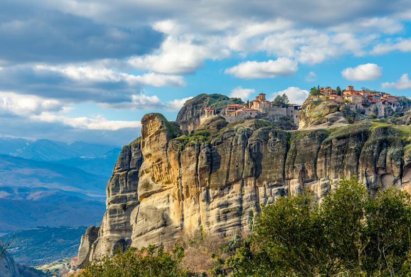 Varlaam and Grand Meteora monasteries, built on the rocks, mountain landscape, Meteors, Trikala, Thessaly stock image
