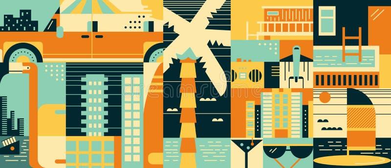 Varm bakgrund för abstrakt begrepp för sommarloppsemester stock illustrationer