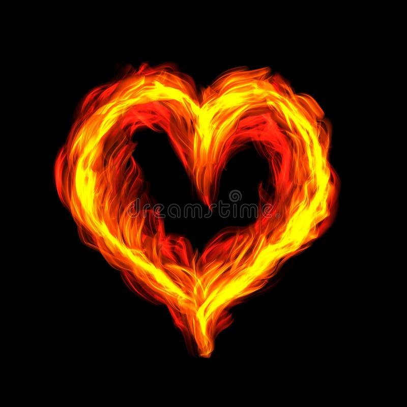 Varm brandhjärtabränning på svart bakgrund Passion och lust royaltyfri bild