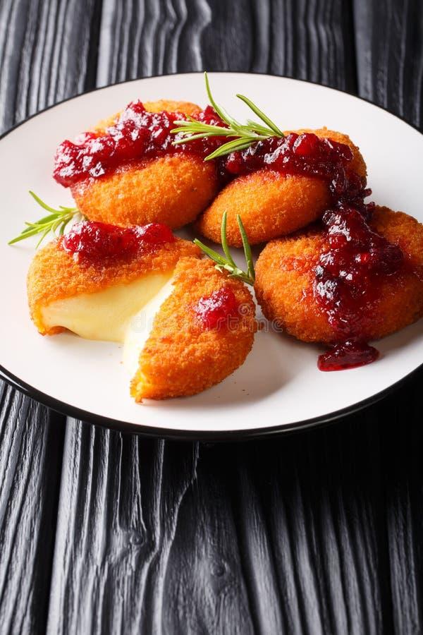 Varm camembertost, i att panera som tjänas som med tranbärsås och rosmarincloseupen på en platta vertikalt royaltyfria foton