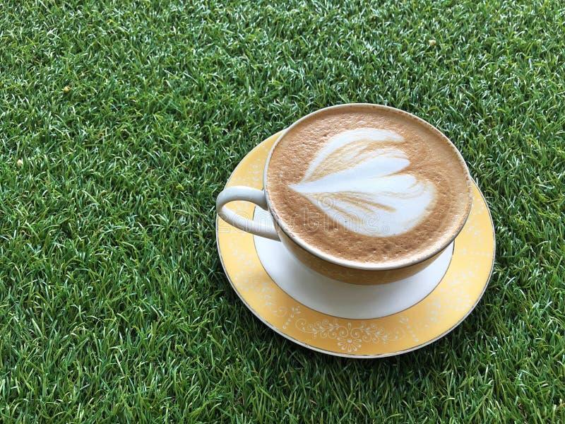 Varm cappuccino på gården royaltyfri fotografi