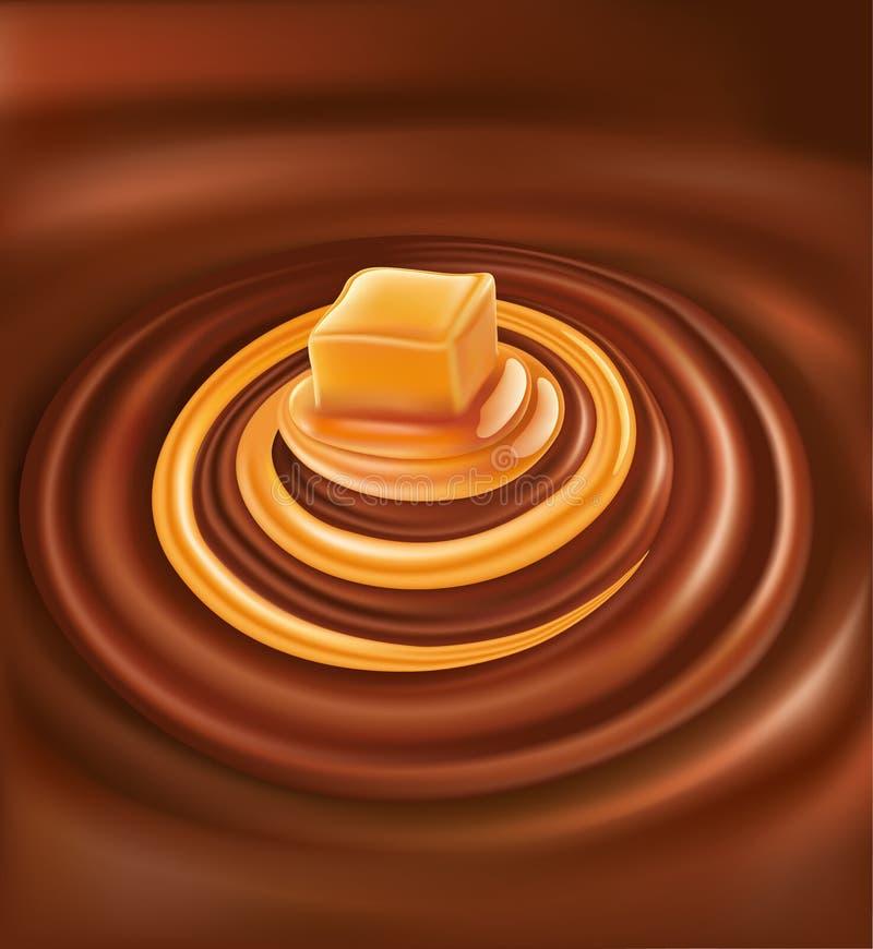 Varm choklad med karamellvirvel stock illustrationer