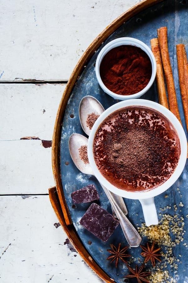Varm choklad med kryddor arkivbild