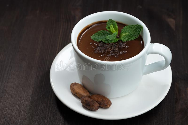 Varm choklad med mintkaramellen i en kopp på en mörk träbakgrund royaltyfri foto