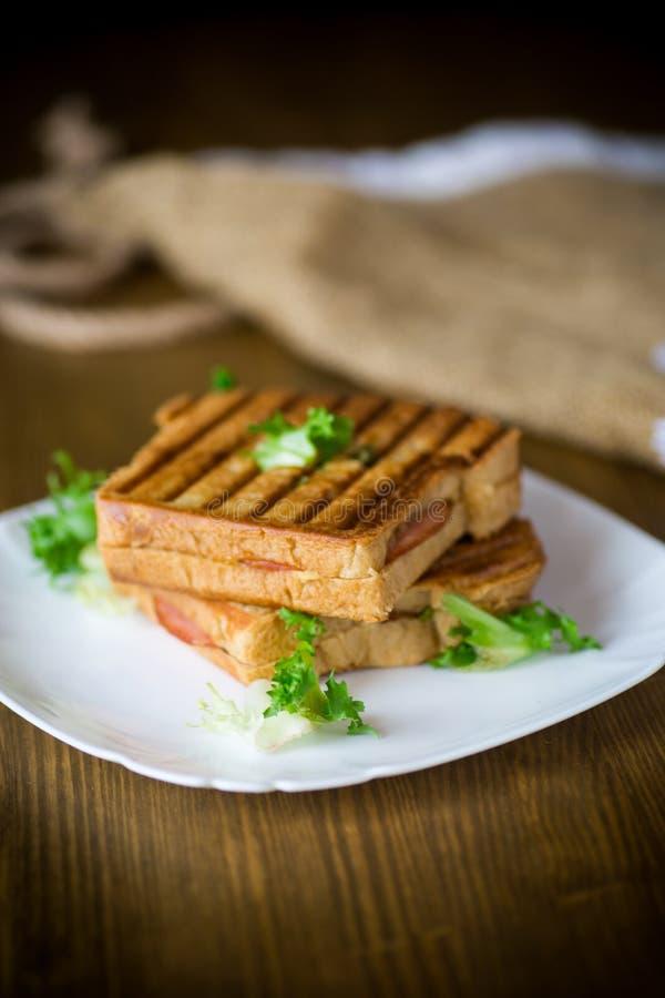 Varm dubbel smörgås med grönsallatsidor och som stoppar i en platta arkivfoto