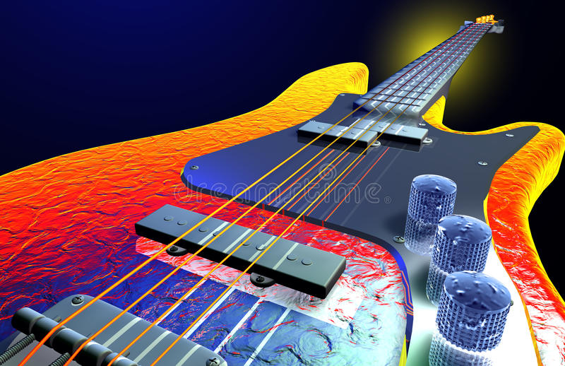 varm elektrisk gitarr royaltyfri illustrationer