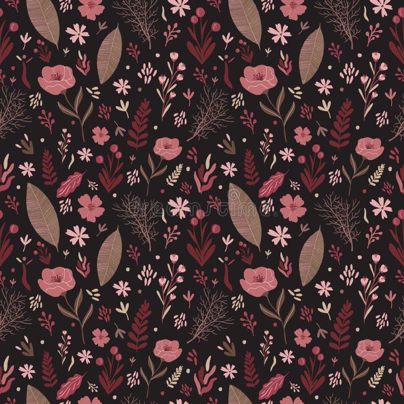 Varm färgpalett för blom- sömlös modell Lövverkblommasammansättning royaltyfri illustrationer