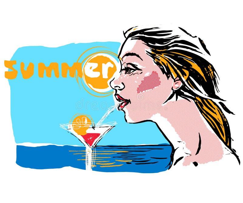 Varm flicka för popkonst på en strand, vektorillustration stock illustrationer