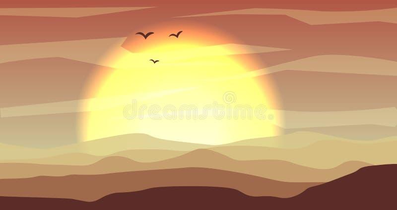 Varm guling och det panorama- landskapet för orange öken med dyn och solnedgången, solnedgång i guldguling färgar Lugna öken stock illustrationer