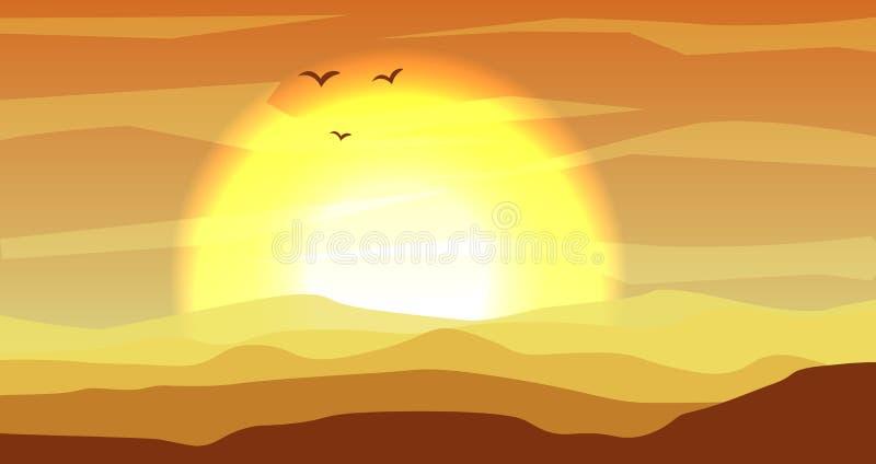 Varm guling och det panorama- landskapet för orange öken med dyn och solnedgången, solnedgång i guldguling färgar Lugna öken vektor illustrationer