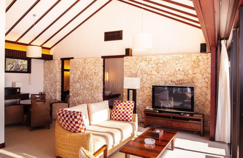 Varm hemtrevlig vardagsrum för modern stil med den bra designsoffan royaltyfria bilder