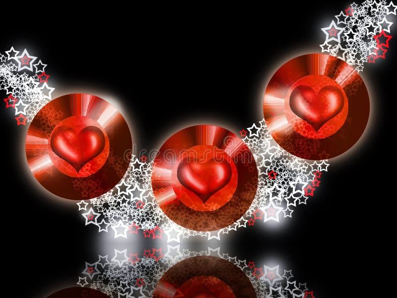 varm juvelred för hjärtor royaltyfri illustrationer