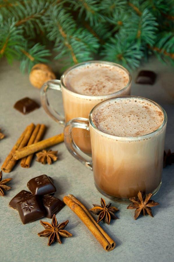 Varm kaffe eller choklad för juldrinkkakao med mjölkar i en liten kopp Granträdfilial, muttrar, stjärnaanis för kanelbruna pinnar royaltyfri foto