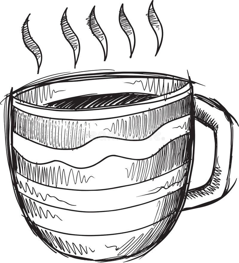 Varm kaffevektor för klotter royaltyfri illustrationer