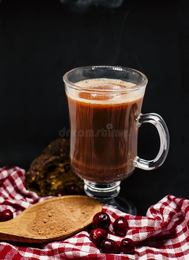 Varm kakaojuldrink på svart bakgrund royaltyfri bild