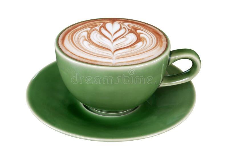 Varm konst för kaffecappuccinolatte i jadefärgkoppen som isoleras på vit bakgrund, snabb bana royaltyfri foto