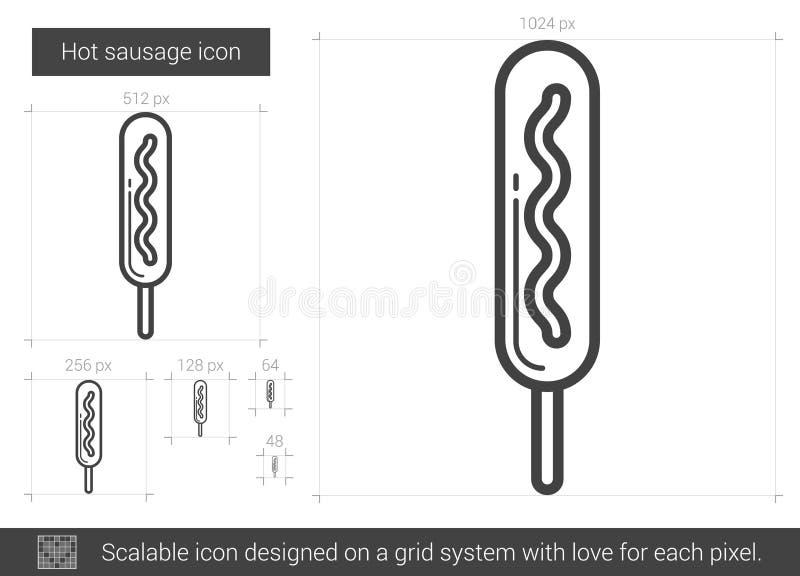 Varm korvlinje symbol royaltyfri illustrationer