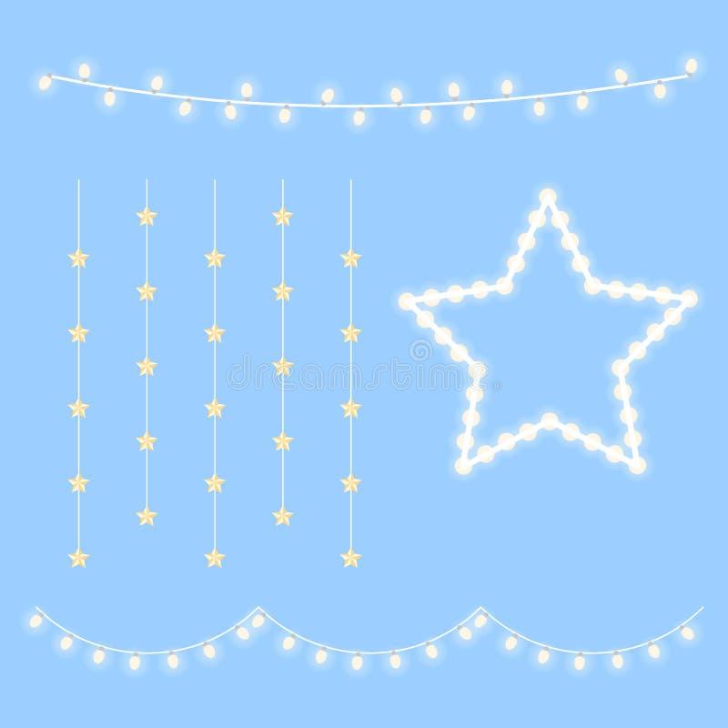 Varm ljus lampsamling för jul som isoleras på blå bakgrund royaltyfri illustrationer
