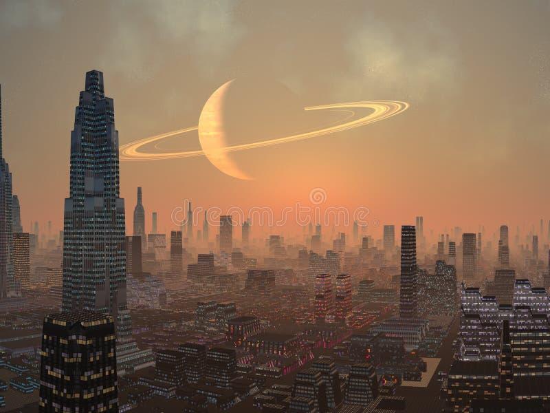 varm nattsommar för främmande stad vektor illustrationer
