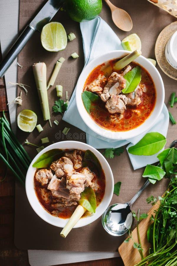 Varm och kryddig soppa med grisköttstöd royaltyfria foton