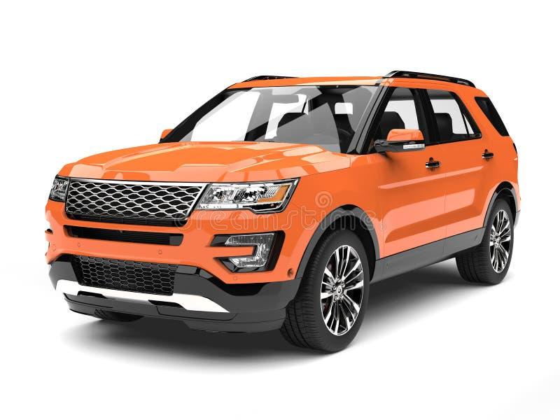 Varm orange modern SUV bil stock illustrationer